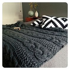 Curl up on a cold day with the cozy ASPEN Blanket by Go-Girl Knitting. This blanket will make a great accent in your home.