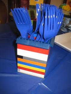 Lego party fork/silverware holder and other ideas!