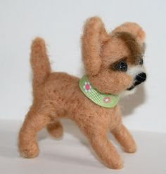 sweet Dog Chihuahua needle felted miniature small by nutkaart