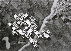 Ciudad Agrícola. Kurokawa, 1960. La propuesta buscaba resolver la contradicción de ciudad-campo mediante una grilla de concreto de 500 x 500 m elevada 4 m sobre el área agrícola mediante pilotes. Me pregunto cómo resolvería el arquitecto un recurso fundamental en los terrenos agricolas: la luz solar.