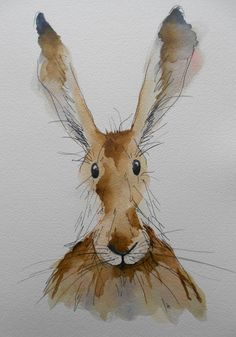 Myrtle the Hare original watercolour by HaresAndHerdwicks on Etsy