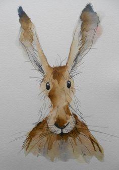 Myrtle the Hare  original watercolour by HaresAndHerdwicks on Etsy