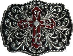 Amazon.com: Cross Crucifix Artistic Belt Buckle Black Red (OC-054): Shoes