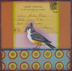 Vintage postcard, titmouse, bird, painting, art, pattern,   www.rachelpaxton.com