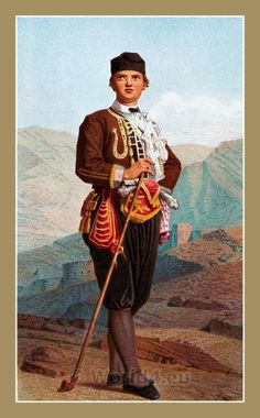 The Serbs in the Adriatic. Their types and costumes 1870-1878. A man from Karlobag Croatia