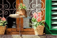 Posies of Panzano, 22″ x 15″ original watercolor painting of a very interesting flower pot on an Italian windowsill by Linda Abblett. The focus subject is an old boot with a flower blooming inside. Linda has captured the resourcefulness, humor, old world charm and vibrance of this Italian household in this sundrenched everyday scene. Original watercolor and giclee prints in original and half size available from the artist's website
