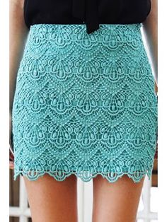 **VINTAGE INSPIRED CROCHET LACE SCALLOP GREEN EMERALD SKIRT