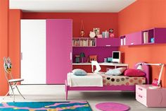 Pink Bedrooms Using Accent Walls Orange Color Combination On Modern S Room Modular Bedroom