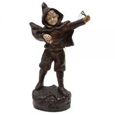 OMERTH - Estatueta em bronze e marfim, representando menino com estilingue. Assinada. 19 cm. Vendido R$2.000,00 set14.