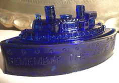 Old Cobalt Blue Glass Ship Remember The Maine Lidded Candy