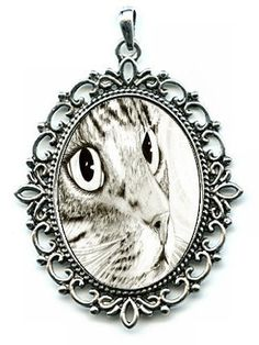 Tabby Cat Necklace Tabby Portrait Fairy Cat Cameo Pendant 40x30mm Gift for Cat Lovers Jewelry