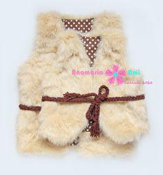 Vestute Blanita bej Asa MAMA asa FIICA by Anamaria Ami Like Mother, Like Daughter faux fur vest