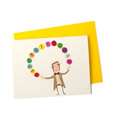 New to anopensketchbook on Etsy: Happy Birthday Greeting Card Handsome Juggler with Rainbow of Colorful Birthday Balls Single Card (4.50 USD)
