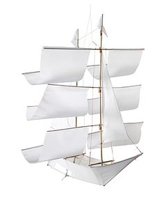 Adorable Mobile For Your Babies Nursery  - If you have a nautical theme in mind for your nursery, than here you go. – Serena and Lily – Sailing Ship Kite in white and navy, $60