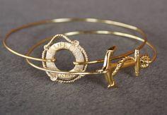Nautical Gold Bangle Bracelet Set Lifesaver by LayeredWithLove
