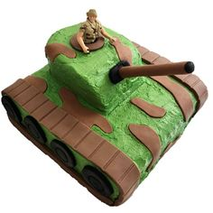 Amaze your Army Tank fans with this DIY boys Birthday Cake Kit. Army Tank Cake, Army Cake, Cake Decorating Supplies, Birthday Cake Decorating, Thomas Cakes, Cake Kit, Cake Icing, Easy Cake Recipes, Yummy Cakes