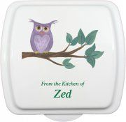 "9x9"" Personalized Cake Pan & Lid - Owl 1 Design"