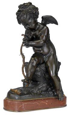 Bronze sculpture of Cupid  late 19th/early 20th century  Dark brown patina, modeled seated, with bow and torch, above rouge marble base, unsigned.  H: 18, W: 11 1/2, D: 6 in.