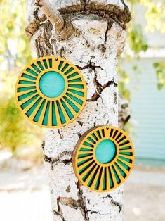 Modern Geometric Statement Earrings  Wood Dangle Earrings  image 0
