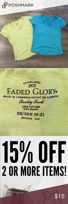 Faded Glory V-neck Bundle Size XS Used but still in great condition. Can fit even up to a size M. Faded Glory Tops Tees - Long Sleeve