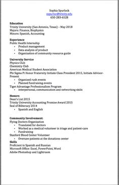 Resume Examples For Accounting Majors
