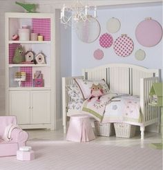 Embroidery looms covered with pretty fabric make easy wall art (and easy to change). Pale blue and pinks with highlights of soft green are always in vogue for the little ladies in your life and using patterns in the same colour ways ensures a modern, cohesive look is achieved.