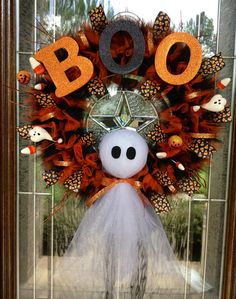 BOOtiful Ghost Halloween Wreath by CraftyCrystalDesigns on Etsy