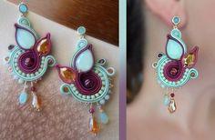 Jewelry Tools, Jewelry Supplies, Boho Jewelry, Jewelry Crafts, Beaded Jewelry, Jewelery, Soutache Necklace, Beaded Earrings, Earrings Handmade