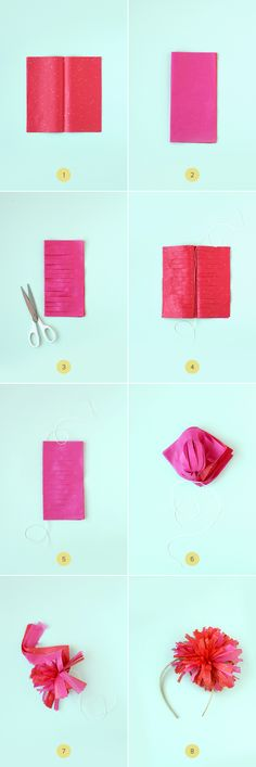 Fringed tissue paper pom pom tutorial...great technique to make them for tassels, garlands or gift toppers, too.