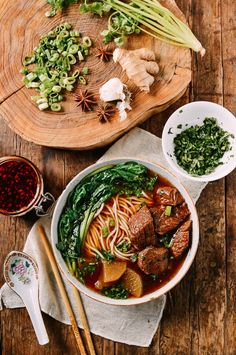 Braised Beef Noodle Soup (红烧牛肉面) - The Woks of Life Beef Noodle Soup, Beef And Noodles, Ramen Noodle, Sopa Ramen, Soup Recipes, Cooking Recipes, Asian Recipes, Ethnic Recipes, Homemade Chili