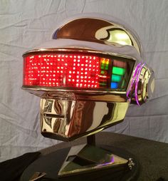 Daft Punk Thomas Bangalter Chrome full led helmet includes gloves stand and necklace