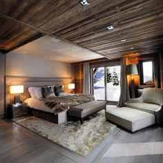 To be fair, it's an exceptionally nice chalet, the most opulent chalet you could wish to see. Marble floors, rustic exposed beams, lovely boarded ceilings, and a couple of polar bears who look like they might have had too much snow the night before...