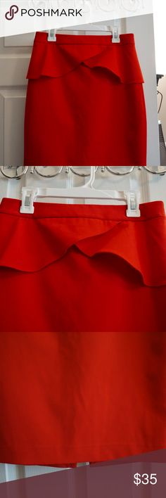 Express Mid-length Red Ruffle Skirt Never been worn, brand new. Very cute for work or going out. Express Skirts Midi