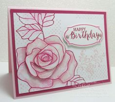 STAMPS: stampin up Rose Wonder card 2016 occasions catalogue PAPER: Rose Red, Pink Pirouette and Whisper White. INK: Rose Red, Blushing Bride, Pink Pirouette. OTHER: Big Shot, Rose Garden Thinlits Dies, Blender Pens, Subtles Candy Dots, Dimensionals, Paper Snips.