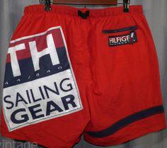 Vintage-Tommy-Hilfiger-Trunks-Sailing-Gear-Racing-44-840-Color-Block-Shorts-Swim