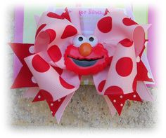 Pink and Red Big Dot Elmo Boutique Hair Bow