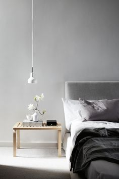 grey + white bedroom