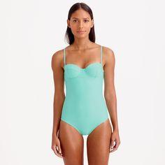 J.Crew Womens Long Torso Underwire One-Piece Swimsuit