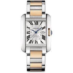 Cartier Tank Anglaise Stainless Steel & 18K Rose Gold Bracelet Watch/Medium
