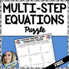 Algebra students always need a break from worksheets. This puzzle provides a challenging and interactive way for them to practice solving multiple step equations. Have them work alone or in partners, showing work on a separate sheet of paper. To extend the life of the puzzle and keep them from getting mixed up, copy them onto different colored card stock paper for each student or pair of students.