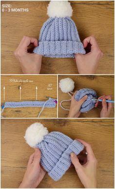 Crochet Very Easy Baby Beanie - häkeln - - ideen baby mütze Baby Beanie Crochet Pattern, Easy Crochet Baby Hat, Bonnet Crochet, Crochet Baby Clothes, Crochet For Kids, Diy Crochet, Crochet For Beginners, Crochet Hats, Crochet Baby Headbands