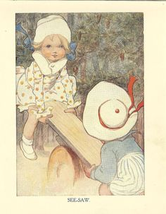 Vintage 1920's Childrens Print Two Children Boy And Girl Playing On Wooden Seesaw Near Woods Book Plate Book Illustration