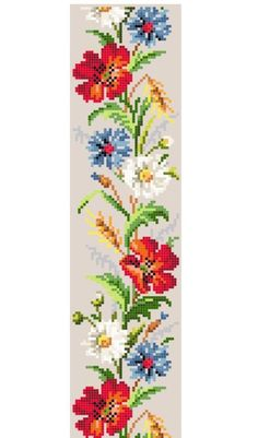 cross stitch border - field flowers