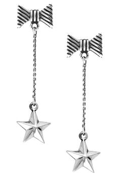 Sterling Silver Bow & Star Drop Earrings by Queen Baby on @HauteLook