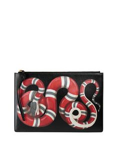 Snake-Print+Leather+Clutch+Bag,+Black+Pattern+by+Gucci+at+Bergdorf+Goodman.