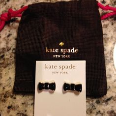 Kate Spade bow earrings Black and gold with pouch kate spade Jewelry Earrings