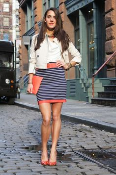 color block at the hem of a plain striped skirt. love