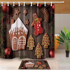 Christmas balls and fir branches Curtain Shower Bathroom Decor 12hooks 71*71in