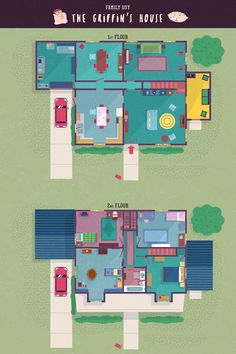 TV-floor-plans-family-guy-griffin-house family guy TV show floor plans from Corrie, Will and Grace, Peaky Blinders and Sims 4 House Plans, Sims 4 House Building, Modern House Plans, Family House Plans, Building Homes, Sims 4 Family, Family Guy, Addams Family House, Harvey Furniture