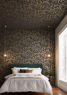 Design Behang: Graham & Brown X Barbara Hulanicki Wallpaper Stairs, Accent Wallpaper, Green Wallpaper, Bedroom Wallpaper, Wallpaper Ideas, Art Nouveau, Art Deco, Decorating Your Home, Interior Decorating